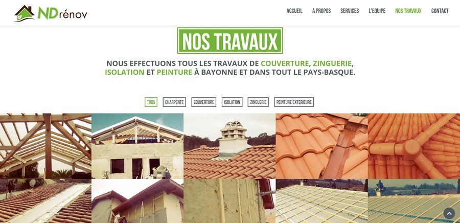 Site institutionnel société ND Renov à Bayonne