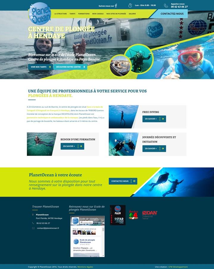 Site institutionnel de l'école de plongée PlanetOcéan à Hendaye
