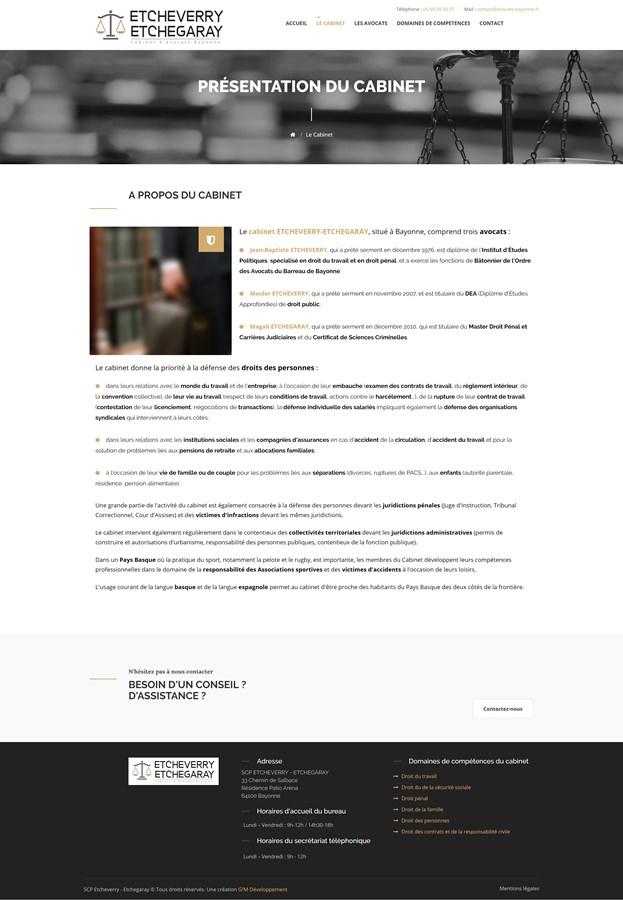Site institutionnel du cabinet d'avocats ETCHEVERRY-ETCHEGARAY