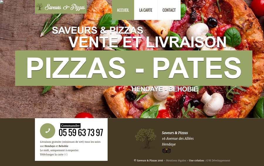 Site vitrine de la pizzeria Saveurs & Pizzas à Hendaye